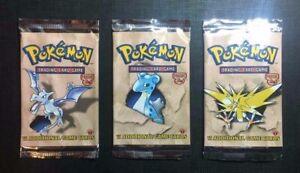 Pokemon-Booster-Packs-Eng-Fossil-1st-Edition-3-packs-EMPTY-VUOTI