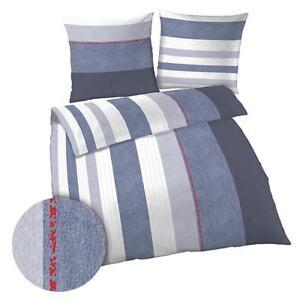 Biber Bettwäsche Streifen Gestreift Blau Grau Weiß 155x220 übergröße
