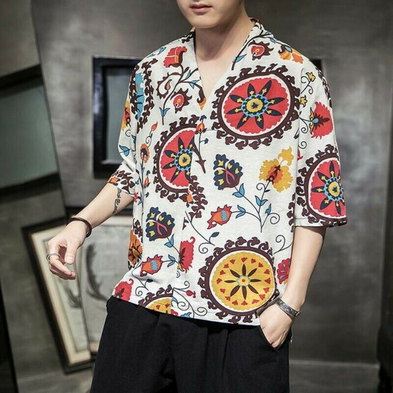 Summer Men Tops 100% Cotton Printing Loose Youth Ethnic Beach Casual T-shirts Sz
