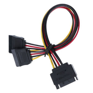 Cables 15Pin SATA Male Plug to 2 Female 15Pin Power HDD Splitter Connector Cable 8.24 Cable Length: A