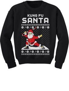 Details about Kung Fu Santa Ugly Christmas Sweater Youth Kids Sweatshirt Xmas Gift