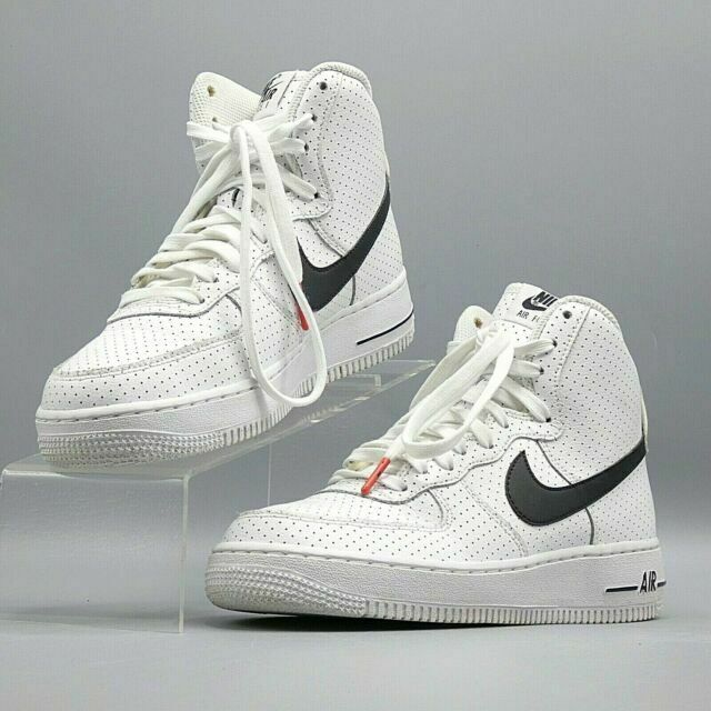 Nike Air Force One 1 High Gs Perforated White Black Sneakers