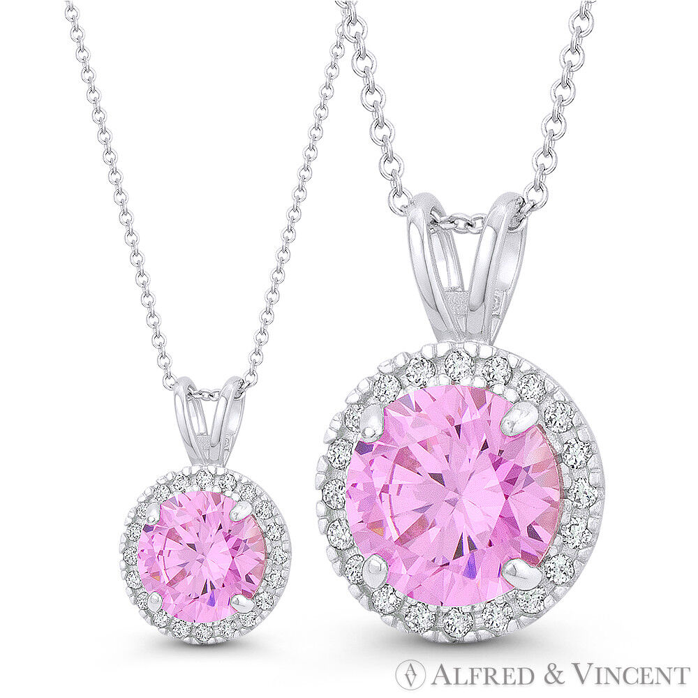 Faux Tourmaline Pink & Clear Round Cut CZ Crystal 14k White gold 14x9mm Pendant