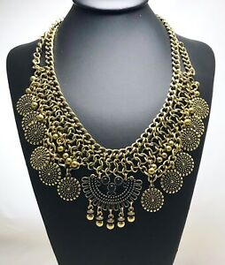 Brass-Color-Rustic-Statement-Bib-Necklace-Pendant-Chains-Medallions-And-Beads