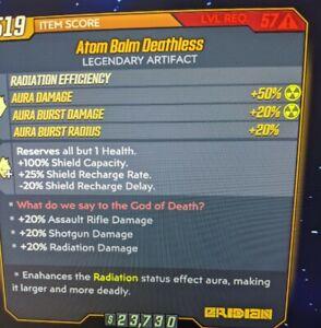 (PS4) Atom Balm Deathless For 5G Fl4k!! God Roll Passives BL3 Lvl 57 MAYHEM 10
