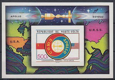 Obervolta Haute Volta 1975 ** Bl.36 B Weltraum Space Espace Apollo-soyuz HüBsch Und Bunt Afrika Burkina Faso