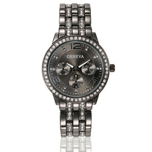 Black Rhinestone Watch Bracelet Ladies Womens Fashion ...