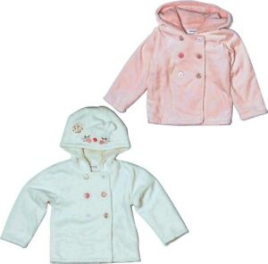 Baby-Girls-Pink-White-Winter-Coat-Jacket-Velour-Fur-Warm-Padded-Buttons-Hood