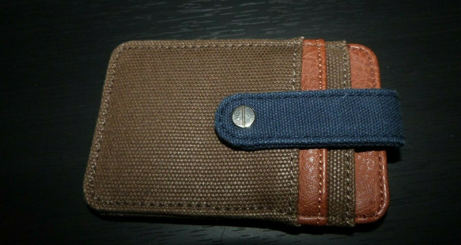 Brown/Navy Distressed Canvas RIVER ISLAND Card Holder