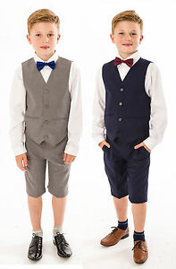 89b4cbc37aba Image is loading Boys-Suits-4-Piece-Short-Set-Suit-Grey-