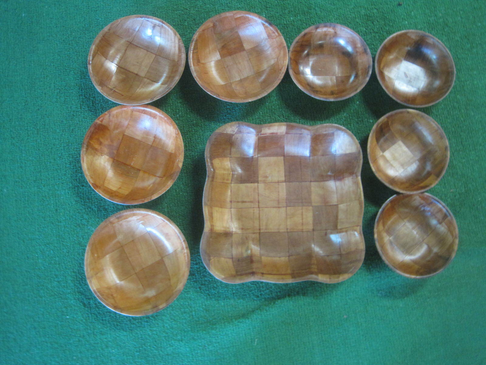 VTG 9-Piece Woven Wood Weavewood Salad Bowl Set SQUARE 11  Bowl, 4 - 7 , 4 - 6