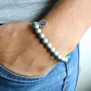 Rosary-Miraculous-Medal-Bracelet-Handmade-Green-Paracord-Beads-Catholic-Jewelry