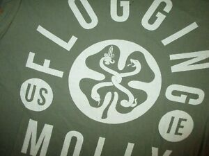 FLOGGING-MOLLY-CONCERT-T-SHIRT-Tour-Cities-Dates-Olive-Drab-Green-Adult-LARGE