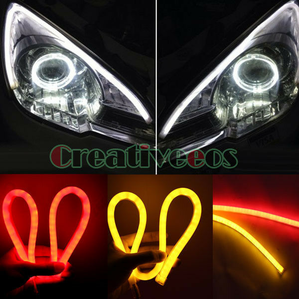 2x Yellow/Red 60CM Car SUV 12V Guide SMD LED Strip Light Turn Signal Tail Light