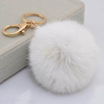 Rabbit Fur Ball PomPom Car Keychain Handbag Charm Dangle Key Ring Pendant