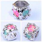 Charms pour bracelet en Argent et Opale de Feu Bleu, Rose, Blanc et Rouge