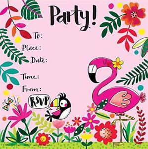 flamingo theme party invitations girls birthday glitter invites