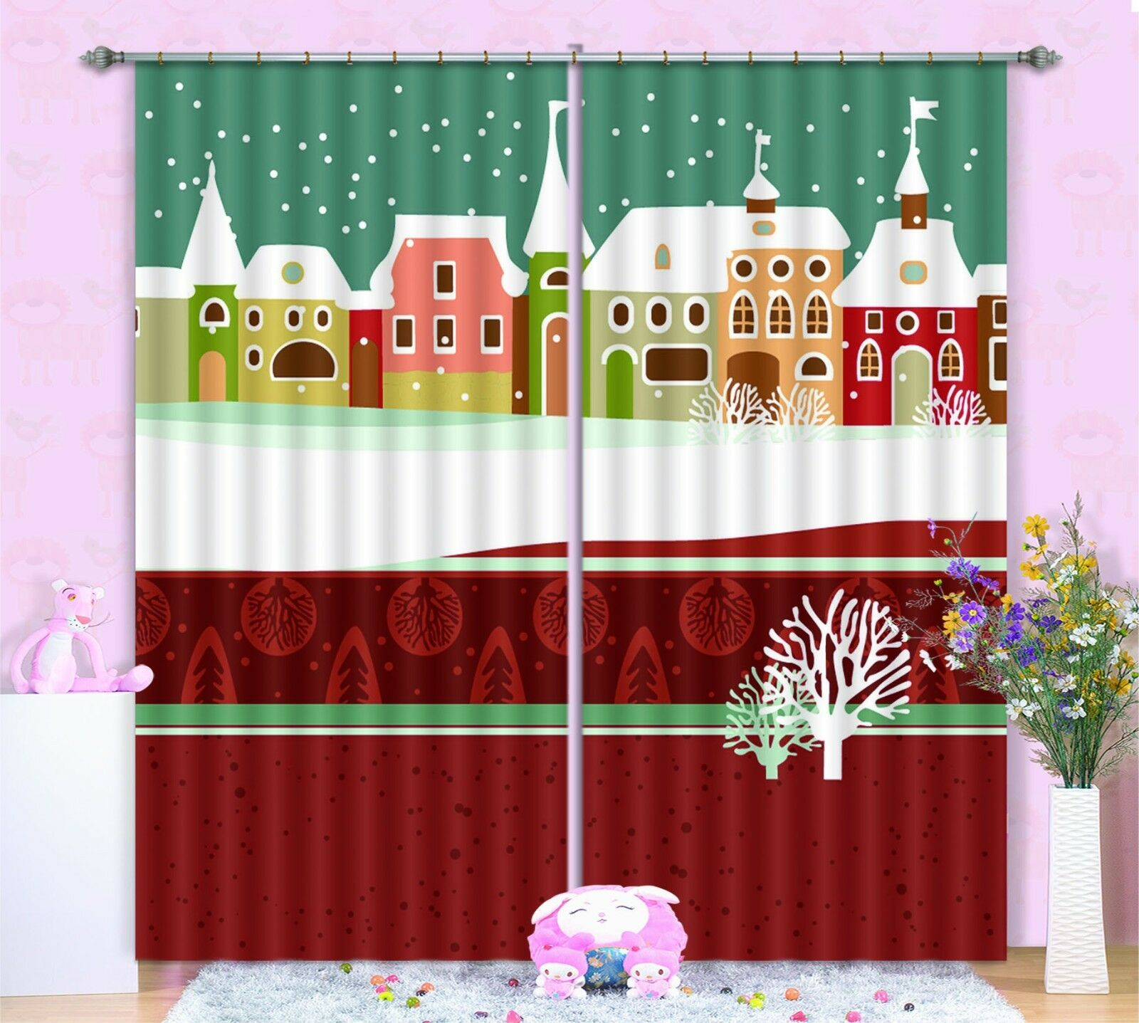 3D Houses Pattern Blockout Photo Curtain Printing Curtain Drape Fabric Window AU