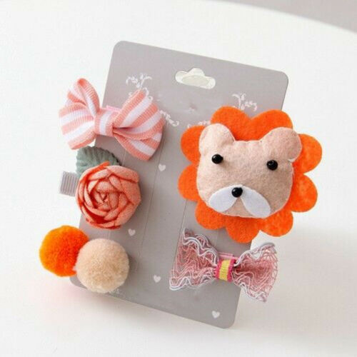 5pcs Children Cute Hair Clip Fabric Animal Girls Hairpin Cartoon Hair Ornament