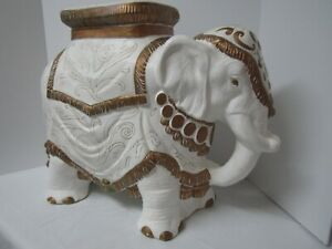 Vintage-Asian-Elephant-Plant-Stand-Garden-Seat-Side-Table-18-x-24-x-13-white