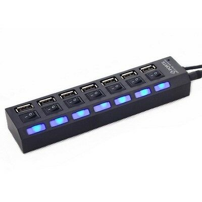 New 7 Ports USB 2.0 Hub with On/Off Switch EU AC Power Adapter for PC Laptop