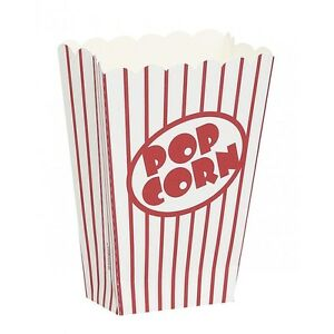 8-Popcorn-Party-Treat-Boxes-Hollywood-Retro-Theme-Red-and-White-Stripe-Favours