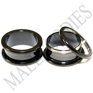 1471-Screw-on-fit-Black-3-4-034-Inch-20mm-Flesh-Tunnels-Ear-Plugs-Earlets-Steel