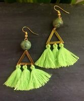 One Of A Kind Lime Green Tassels Brass Triangle Chrysotine Bead Gold Earrings