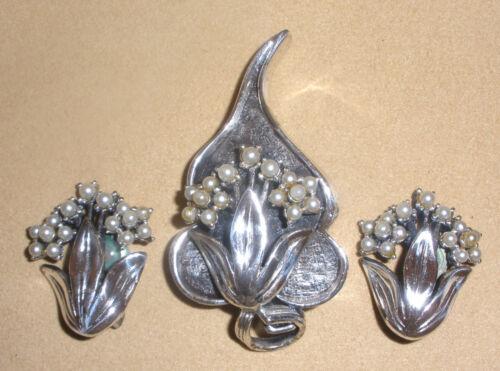 Tortolani Silver Tone Pin & Earring Set w/ Pearl Accents