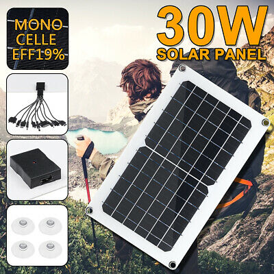 30W USB Solar Panel 5/12V 10-in-1 Charging Line For Boat Car Home Camping Hiking