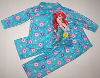 Disney Ariel Little Mermaid Pajamas Sleepwear Bubbles Flowers Cute Girl