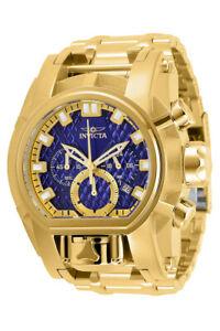 Invicta-Reserve-Mens-Bolt-Zeus-Magnum-52MM-Gold-Tone-Blue-Dial-SS-Bracelet-Watch