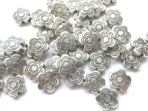 50 Spacer 10mm Blume Farbe antiksilber Metallperlen Zwischenelement  #S106