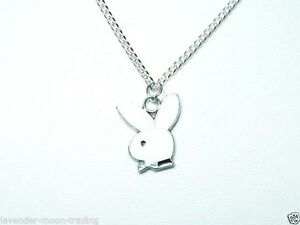Playboy bunny pendantnecklace with silver plated 18 chaingift ebay image is loading playboy bunny pendant necklace with silver plated 18 aloadofball Images