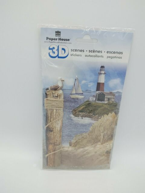 PAPER HOUSE 3D Scenes Lighthouse Light House Beach Shore STICKERS PACK FREE  SHIP