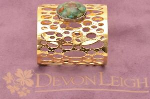 Devon-Leigh-gold-plated-cutout-chrysocolla-stone-wide-cuff-bracelet-NEW-500