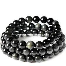 Black Rainbow Obsidian stone bracelet - A strongly protective stone