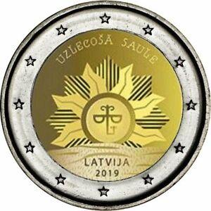 2-Euro-GM-Lettland-2019-Aufgehende-Sonne-Wappen-Lettlands
