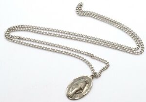 Vintage-1940-s-Sterling-Silver-Catholic-Miraculous-Medal-Virgin-Mary-Pendant-22-034