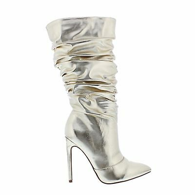 Liliana Xaya Grey Snake Slouch Pointed Toe High Heel Stletto Dress Mid Calf Boot