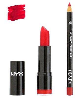 NYX Round Lipstick Eros 536 and Slim Lip Liner 817 set Hot Red