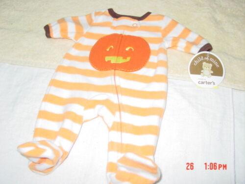 NWT Infant Boys Girls Playsuit Sleeper Carter/'s Halloween Pumpkin Fleece New