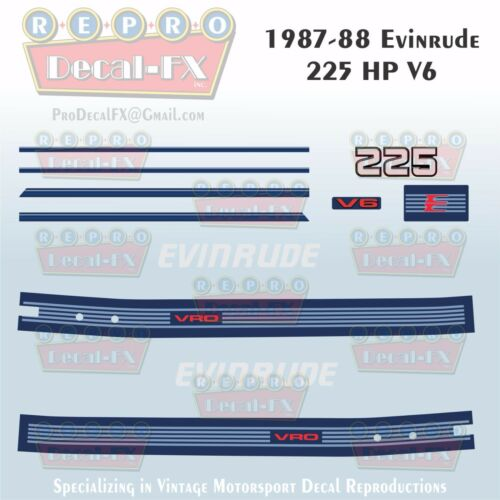 1987-88 Evinrude 225 HP V6 Outboard Reproduction 11 Piece Marine Vinyl Decals