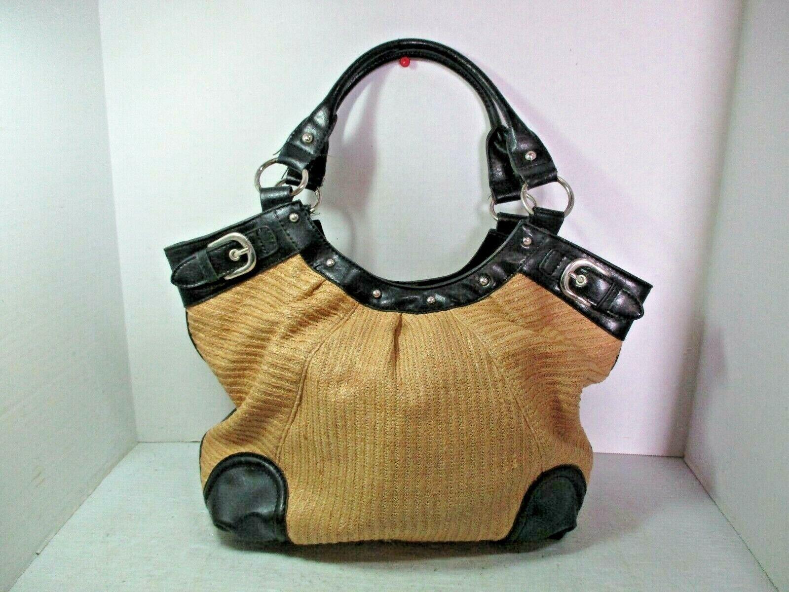 STYLE & CO. Woven Straw Tote Handbag Shoulder Purse Bag Black & Tan Large