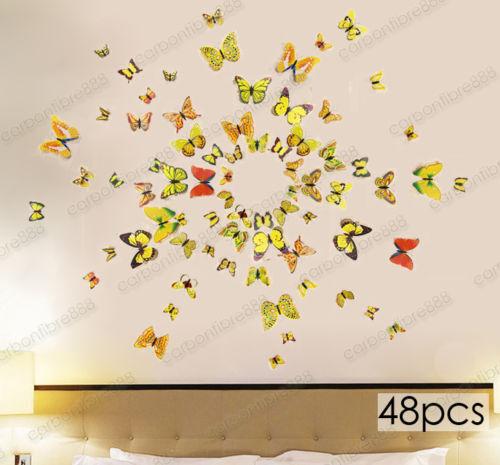 3D Mariposa Pared Arte Calcomanía Pegatinas Imán Mural Decoración Hogar 12 un.//48 un