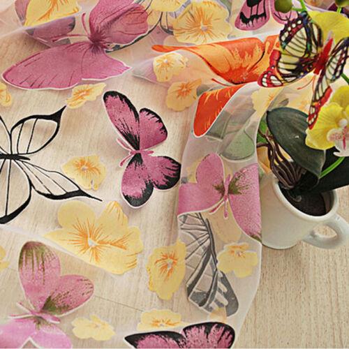 Schmetterling Sheers Vorhang Tüll Blumen Fenster Tür Vorhang Schal Volant BCDE
