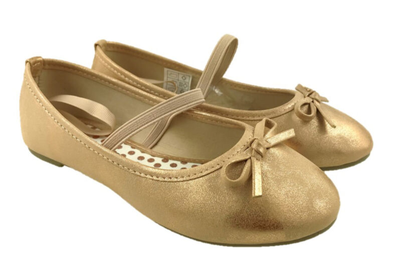 Girls Slip On Ballerina Dolly Pumps Shoes Bow Detail Gold Size Uk 7 - 2.5 Moderate Kosten