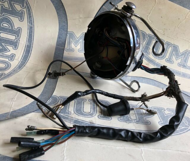 Lucas Black Headlight Shell /& Chrome Rim 5.3//4 Cafe Racer Style