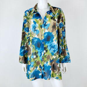 Fashion-Bug-Size-26W-28W-Blouse-Top-Button-Down-Blue-Brown-Abstract-Crinkled