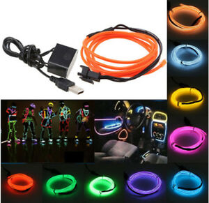 Flexible-EL-Wire-Neon-LED-Strip-Light-Glow-Tube-Car-Party-5V-USB-Controller